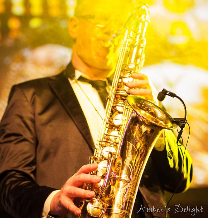 Saxofon, mit Partyband Amber's Delight bei einer Firmenparty in Düsseldorf